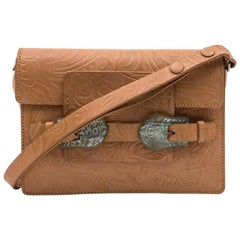 FENDI Bag in Embossed Natural Leather and Celadon Green Sculpteed Horn Buckles
