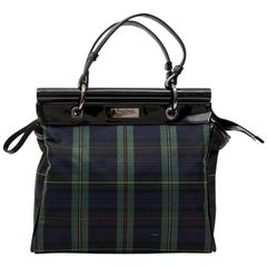 JEAN PAUL GAULTIER Bag in Prince de Galles Canvas and Black Patent Leather