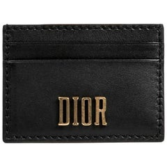 DIOR Card Holder in Black Smooth Leather
