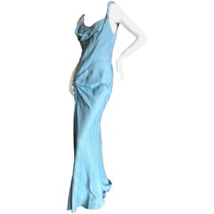 John Galliano Vintage 90's Blue Twill Bias Cut Evening Dress with Knot Detail