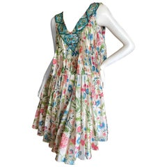 Dior by John Galliano Pleated Silk Floral Print Dress with Embellished Collar