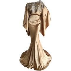 John Galliano Vintage Gold Kimono Sleeve Extravagantly Beaded Evening Dress