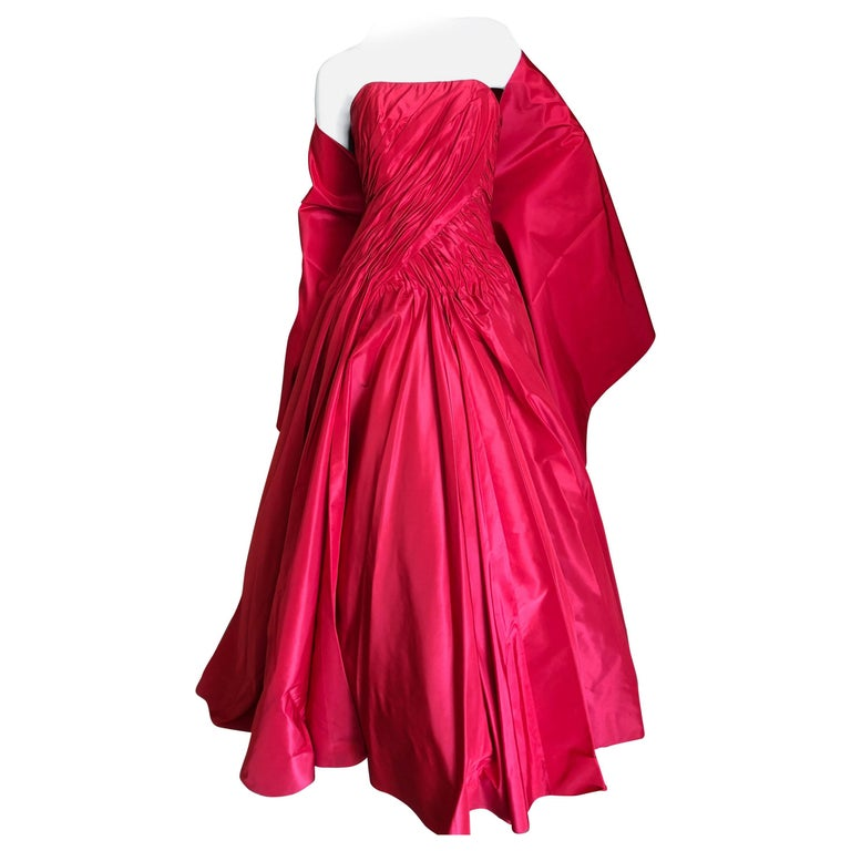 Vicky Teil Couture Paris 70's Red Silk Ballgown w Four Petticoats and Shawl Wrap For Sale