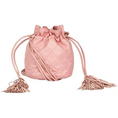 1990's Chanel Pink Quilted Lambskin Vintage Timeless Bucket Bag