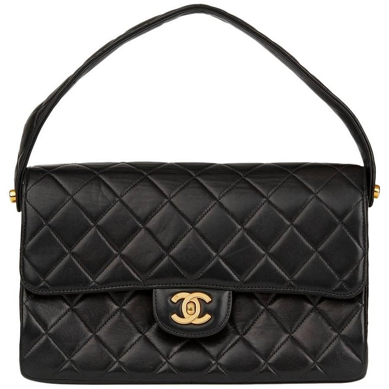 e47cd797d04e 1996 Chanel Black Quilted Lambskin Vintage Medium Double Sided Classic Flap  Bag For Sale