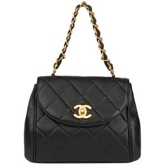 1994 Chanel Black Quilted Lambskin Vintage Classic Single Flap Bag