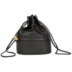 1993 Chanel Black Lambskin Vintage Timeless Bucket Bag