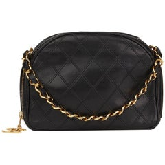 1986 Chanel Black Quilted Lambskin Vintage Timeless Charm Bag