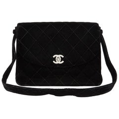 1996 Chanel Black Quilted Velvet Vintage Classic Shoulder Bag