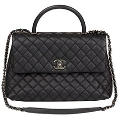 2017 Chanel Black Quilted Caviar Leather Medium Coco Handle