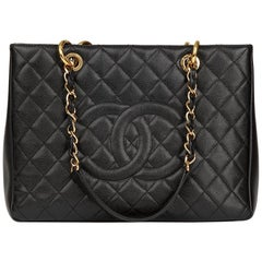 2014 Chanel Black Quilted Caviar Leather Grand Shopping Tote GST