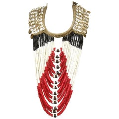 Artisan Massive Tribal Beaded Statement Necklace, circa 1980s