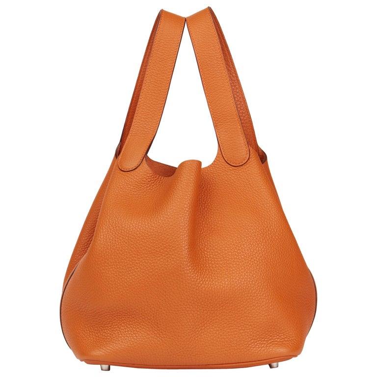 2007 Hermes Orange H Clemence Leather Picotin 22