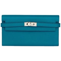 2014 Hermes Bleu Colvert Epsom Leather Tri-Fold Kelly Wallet