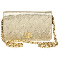 1990's Chanel Gold Metallic Lambskin Vintage Mini Flap Bag