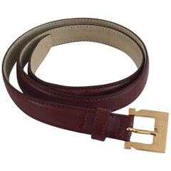 Ferragamo Burgundy Leather Belt Size Medium.