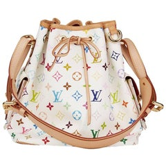 2008 Louis Vuitton White Multicolore Monogram Coated Canvas Petit Noe