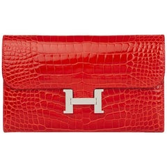2015 Hermes Geranium  Mississippienisis Alligator Leather Constance Long Wallet