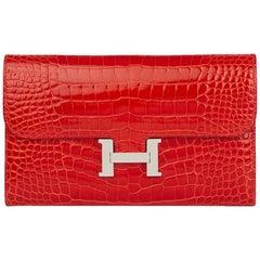 2015 Hermes Geranium  Mississippienisis Alligator Leather Constance Long Wallet