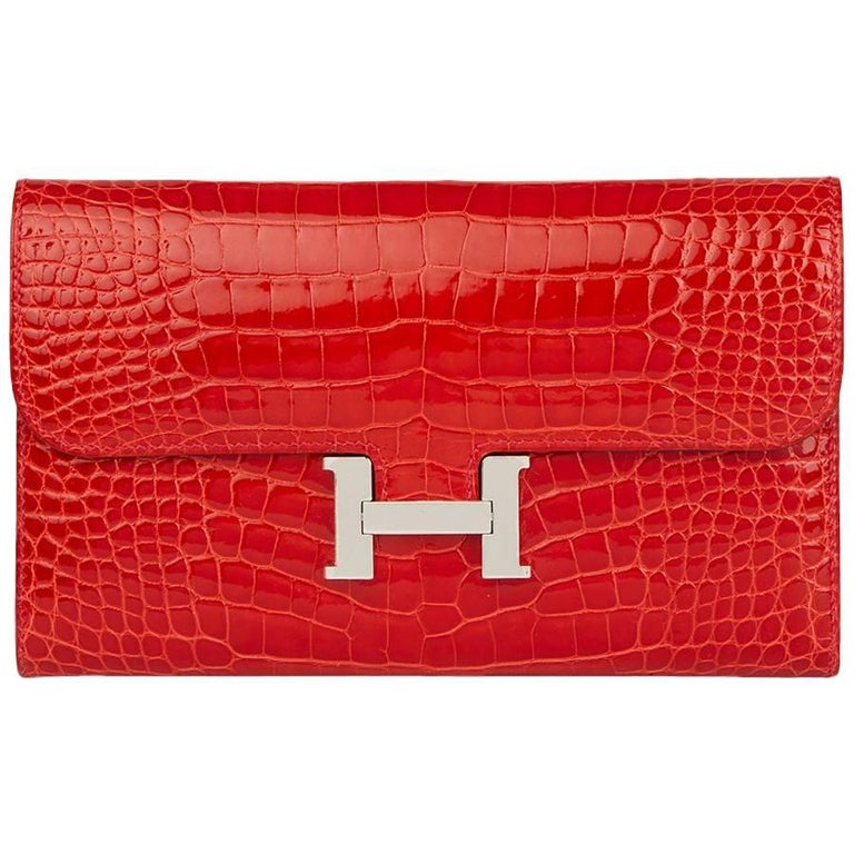 2015 Hermes Geranium  Mississippienisis Alligator Leather Constance Long Wallet For Sale