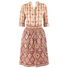 Emilio Pucci Signature Print Shirt Blouse Gathered Skirt Dress Set, circa 1950s