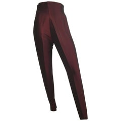 Romeo Gigli 1980s Burgundy Sharkskin Stretch Stir Up Pants Size 4.
