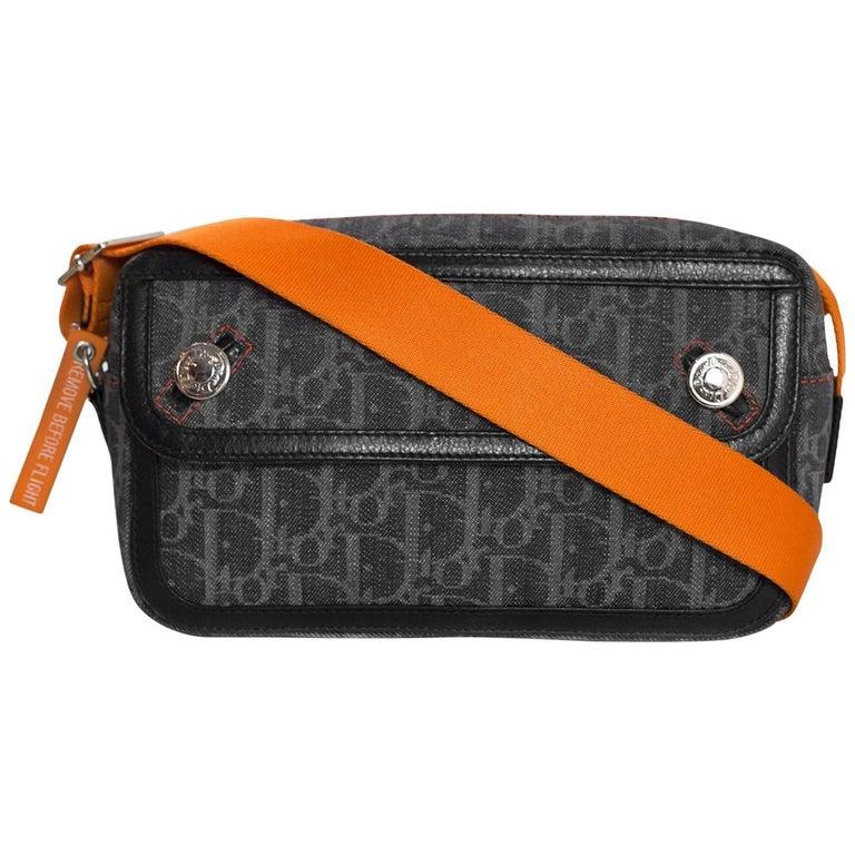 Christian Dior Blue Denim & Orange Diorissimo Monogram Flight Shoulder Bag