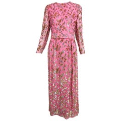 Adele Simpson pink silk metallic devore velvet maxi dress, 1960s