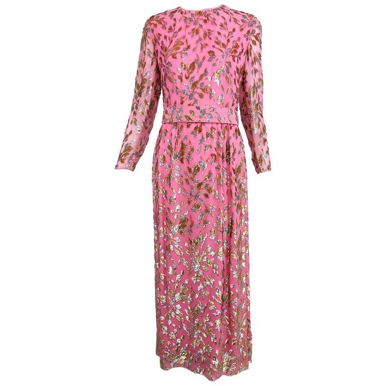 Adele Simpson pink silk metallic devore velvet maxi dress, 1960s