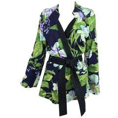 Kenzo Jungle tropical cotton print wrap jacket, 1980s