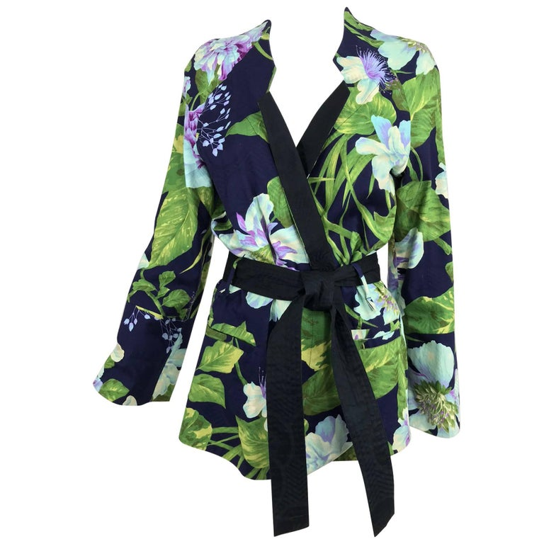 Kenzo Jungle tropical cotton print wrap jacket, 1980s For Sale