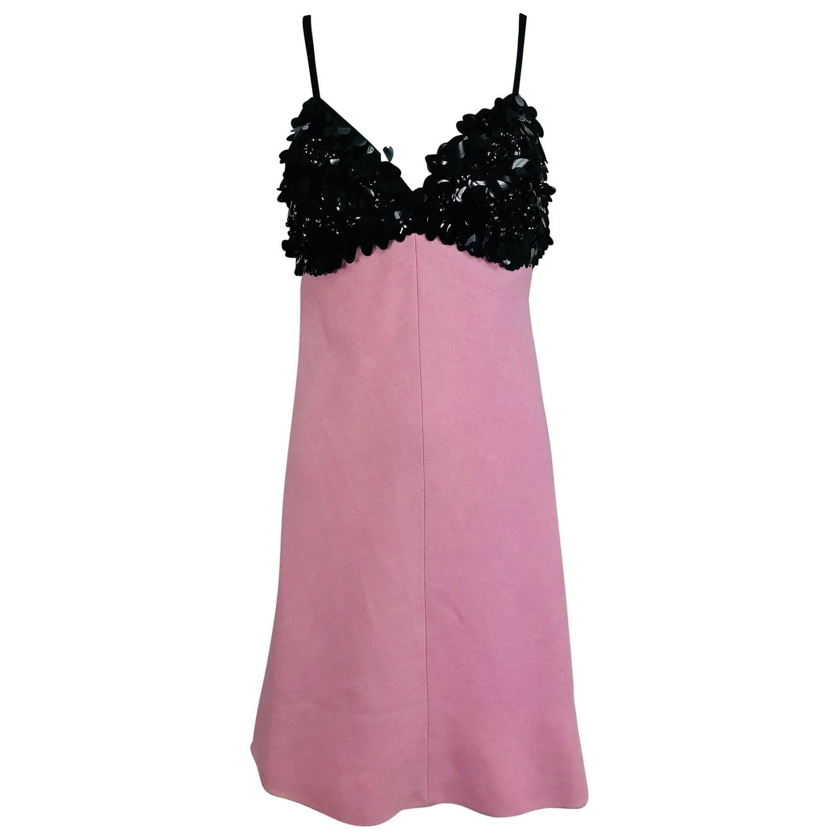Junior Sophisticates Black Paillette and Pink Linen Dress and Coat 1960s