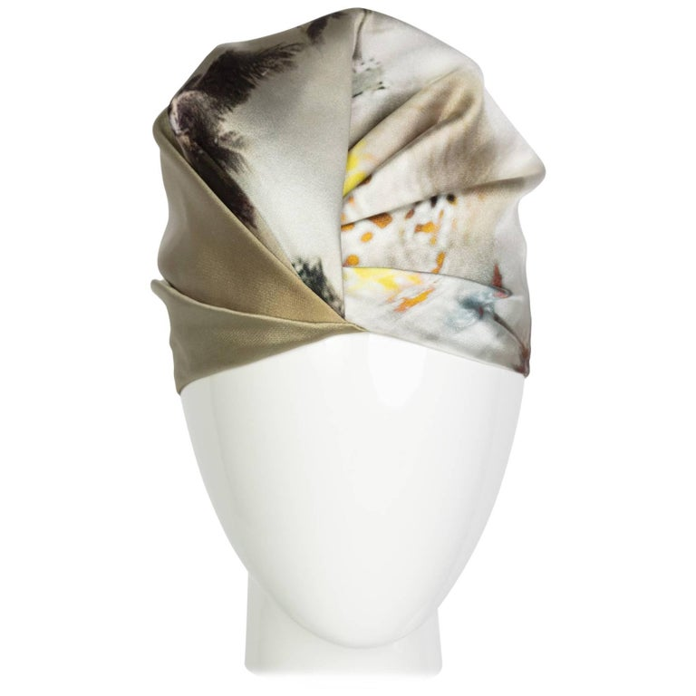 Prada Silk Printed Limited Edition Turban Hat, 2000s