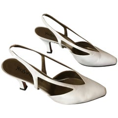 YSL 1990s White Leather Slingback Heel Size 9.5 M.