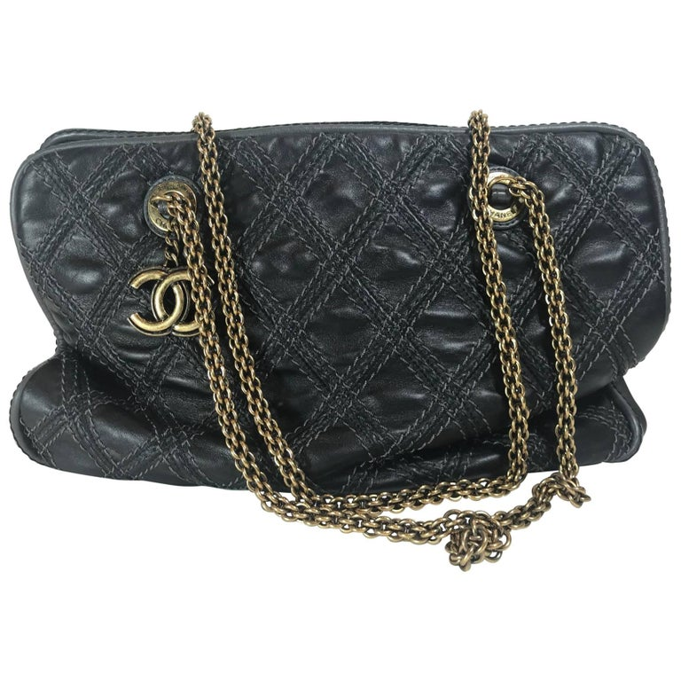 c86835451898 Chanel Quilted Bowler For Sale. Black quilted and stitched leather.