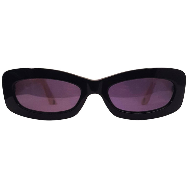 Chanel Black Narrow Sunglasses with Beige Quilted Texture Arms