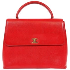 Chanel Red Caviar Leather Kelly Bag