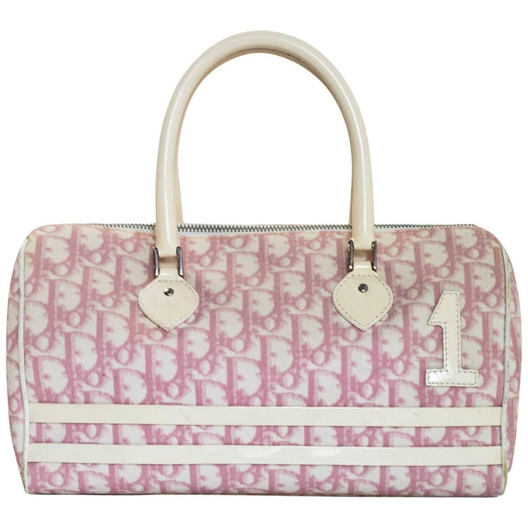 Christian Dior Vintage Pink and White Diorissimo Monogram Boston Bag For  Sale at 1stdibs ee687a0d0aa3d