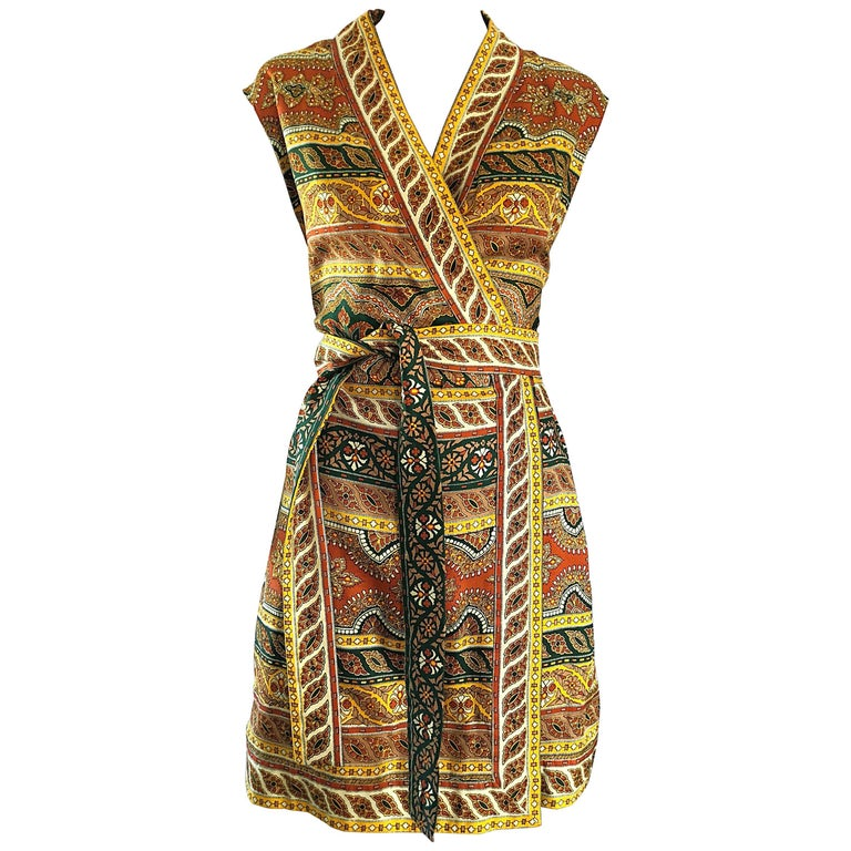 Chic 1960s Donald Brooks Batik Ethnic Print Vintage 60s Silk Wrap Dress + Belt