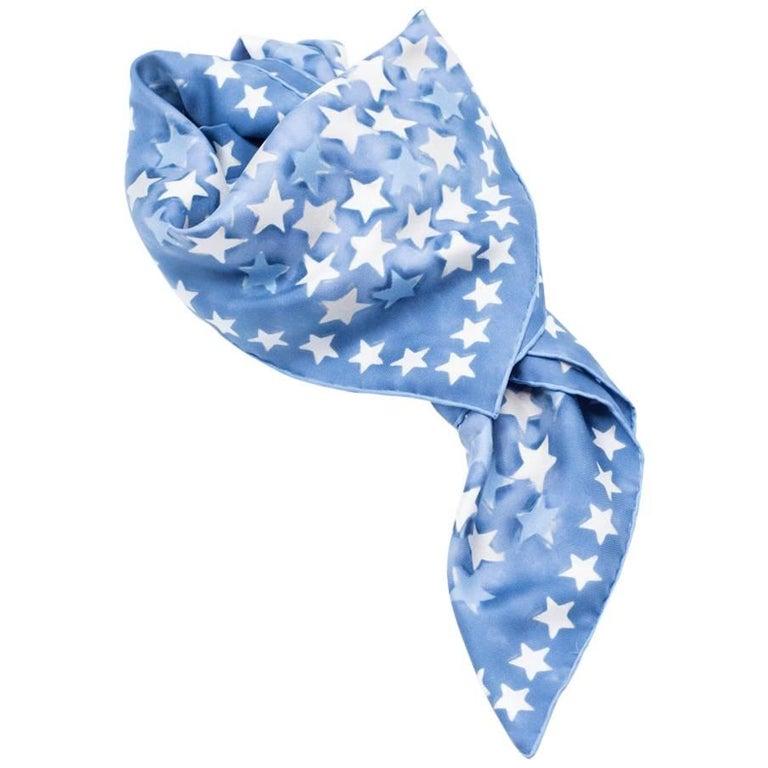 Valentino Blue Star Printed Silk Square Throw Scarf ONE SIZE