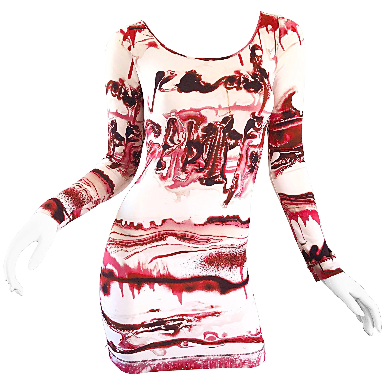Jean Paul Gaultier 2000s Vampire Blood Print Long Sleeve Bodycon Mini Dress