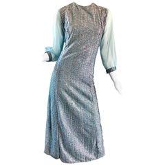 Beautiful 1960s Pale Light Blue Colorful Metallic Lurex Vintage 60s Midi Dress