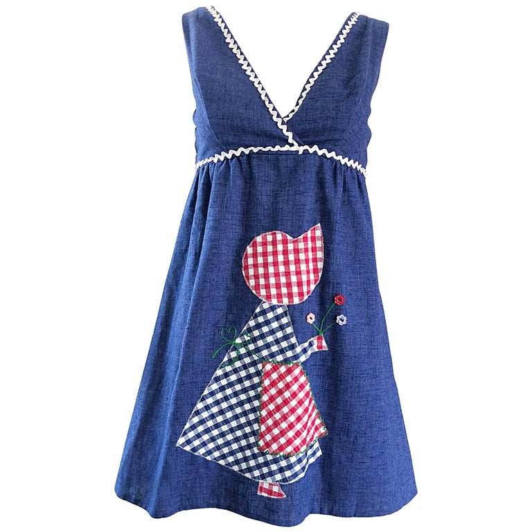 1970s Holly Hobbie Theme Red, White and Blue Denim Blue Jean 70s Mini Dress
