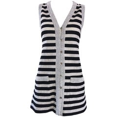 1970s Silver + Black Metallic Striped Sleeveless Vintage Vest Tunic / Mini Dress