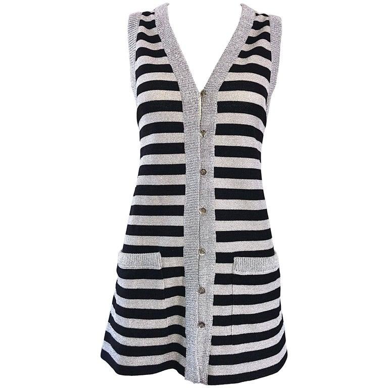 1970s Silver + Black Metallic Striped Sleeveless Vintage Vest Tunic / Mini Dress For Sale