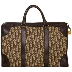 Christian Dior Vintage Brown Monogram Diorissimo Large Top Handle Boston Bag