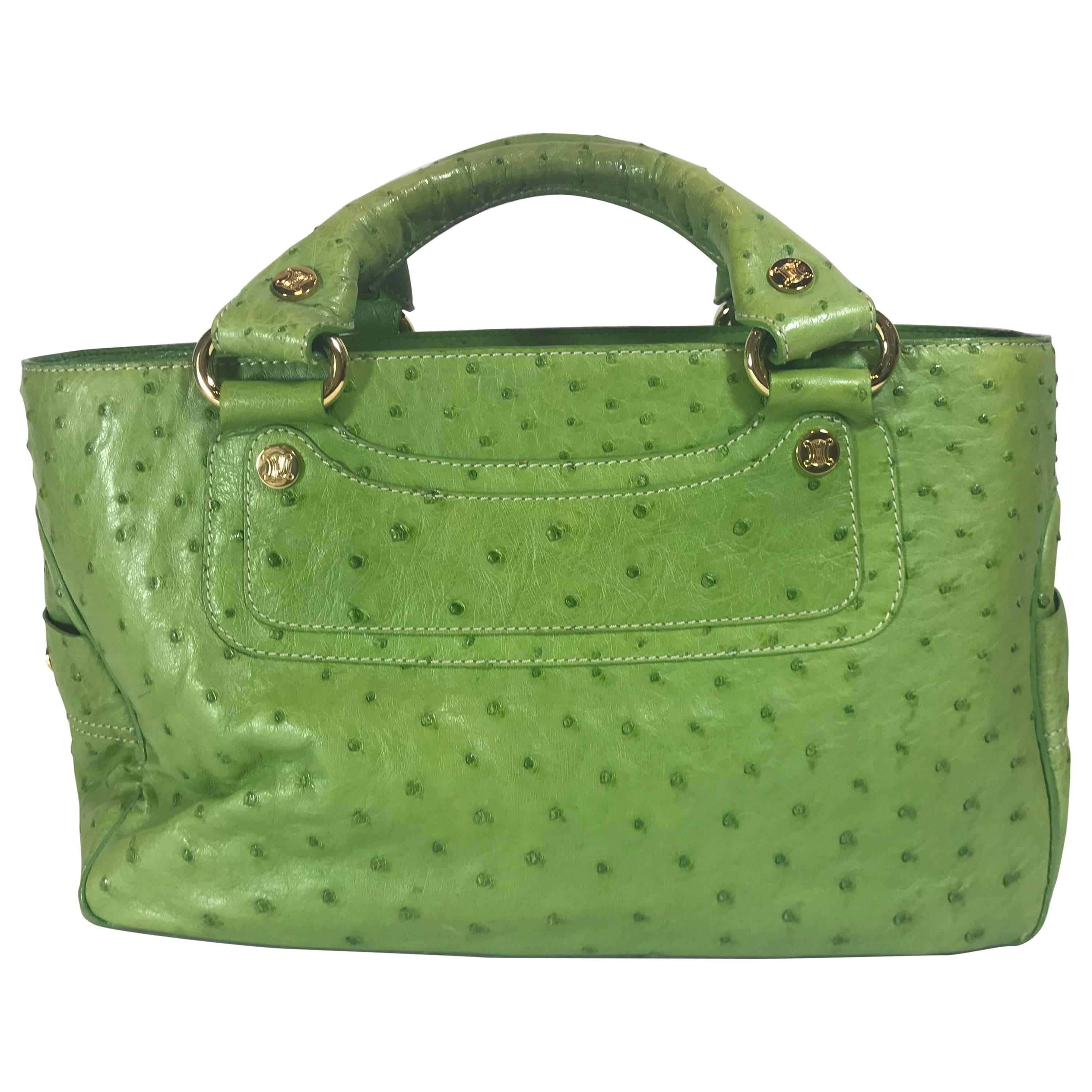1stdibs Celine Green Patent Leather Satchel With Shoulder Strap With Silver Hardware ieJqjzZ
