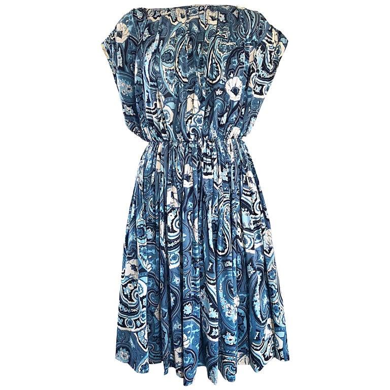 Rare 1950s Townley Blue + White Paisley Flower Print Vintage 50s Dress