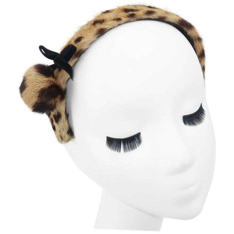1950's Therese Ahrens Animal Print Fur Headband