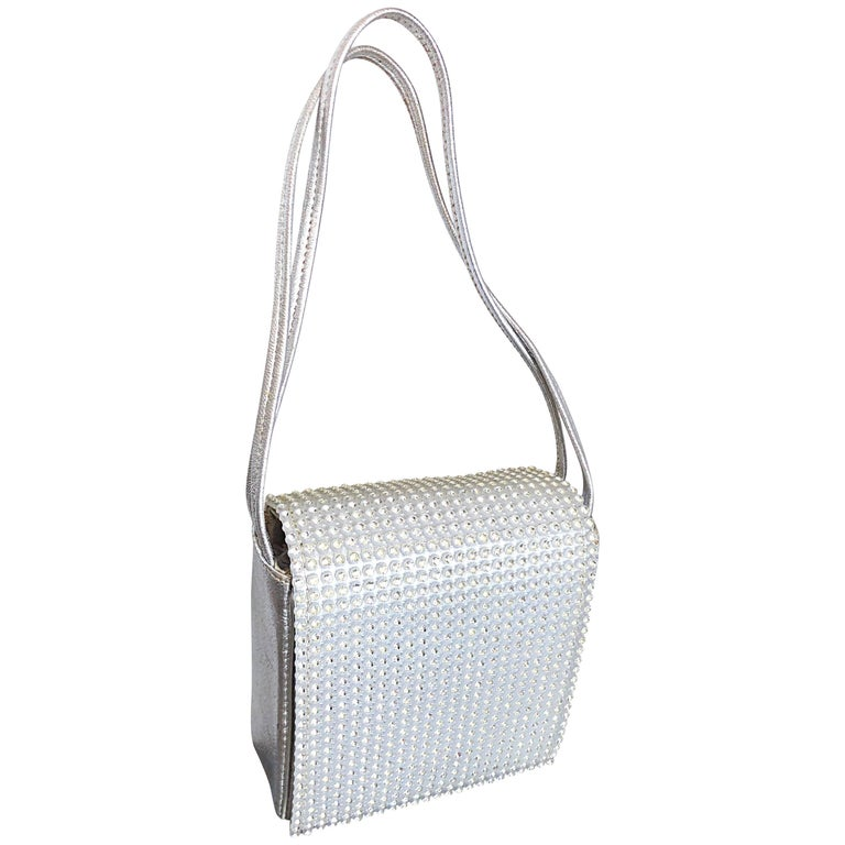 Beautiful 1960s Walborg Silver Leather Rhinestone Crystal Encrusted Evening Bag